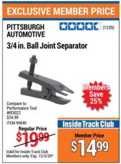 Harbor Freight ITC Coupon 3/4 IN. BALL JUINT SEPARATOR  Lot No. w83022 Expired: 12/3/20 - $14.99