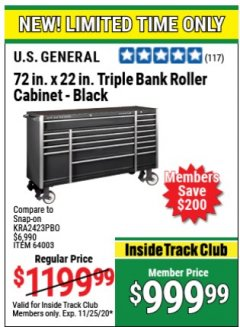 Harbor Freight Coupon US GENERAL 72 IN X 22 IN TRIPLE BANK ROLLER CABINET BLACK Lot No. 64003 Expired: 11/25/20 - $999.99