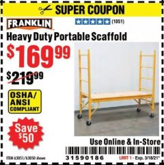 Harbor Freight Coupon FRANKLIN HEAVY DUTY PORTABLE SCAFFOLD Lot No. 63051, 63050 Valid Thru: 3/18/21 - $169.99