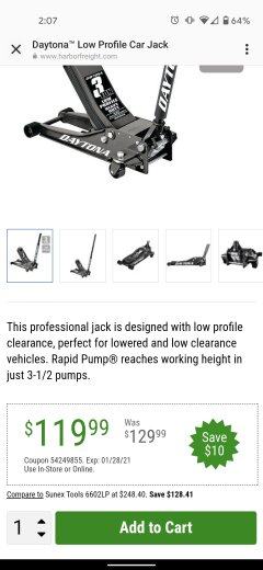 Harbor Freight Coupon DAYTONA 3 TON HEAVY DUTY PROFESSIONAL RAPID PUMP FLOOR JACK Lot No. 56642, 64200, 64779, 64783 Valid Thru: 1/28/21 - $119.99