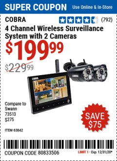 Harbor Freight Coupon COBRA 4 CHANNEL WIRELESS SURVEILLANCE SYSTEM WITH 2 CAMERAS Lot No. 63842 Expired: 12/31/20 - $199.99