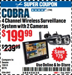 Harbor Freight Coupon COBRA 4 CHANNEL WIRELESS SURVEILLANCE SYSTEM WITH 2 CAMERAS Lot No. 63842 Valid Thru: 2/5/21 - $199.99