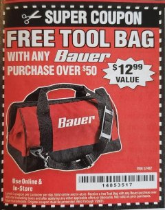 "Harbor Freight FREE Coupon BAUER 16"" TOOL BAG WITH 6 POCKETS Lot No. 57487 Valid: 1/5/21 - 1/29/21 - FWP"