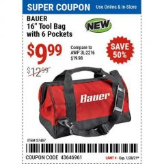 "Harbor Freight Coupon BAUER 16"" TOOL BAG WITH 6 POCKETS Lot No. 57487 Valid Thru: 1/29/21 - $9.99"