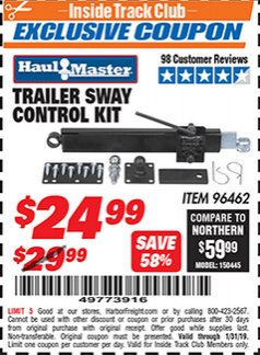 Harbor Freight ITC Coupon TRAILER SWAY CONTROL KIT Lot No. 96462 Expired: 1/31/19 - $24.99