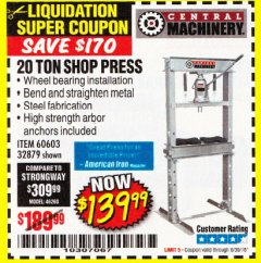Harbor Freight Coupon 20 TON SHOP PRESS Lot No. 32879/60603 Expired: 6/30/18 - $139.99