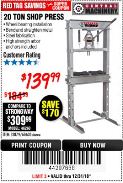 Harbor Freight Coupon 20 TON SHOP PRESS Lot No. 32879/60603 Expired: 12/31/18 - $139.99