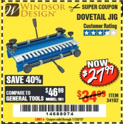 Harbor Freight Coupon DOVETAIL JIG / MACHINE Lot No. 34102 Expired: 11/30/18 - $27.99