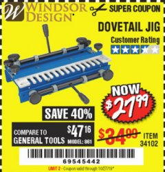 Harbor Freight Coupon DOVETAIL JIG / MACHINE Lot No. 34102 Expired: 10/27/19 - $27.99