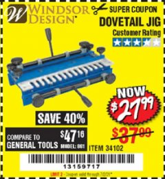 Harbor Freight Coupon DOVETAIL JIG / MACHINE Lot No. 34102 Expired: 7/2/20 - $27.99