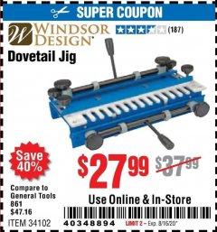Harbor Freight Coupon DOVETAIL JIG / MACHINE Lot No. 34102 Expired: 8/16/20 - $27.99