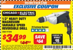 "Harbor Freight ITC Coupon 1/2"" LOW SPEED ELECTRIC DRILL Lot No. 97594 Expired: 3/31/19 - $34.99"