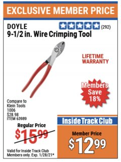 "Harbor Freight ITC Coupon DOYLE 9 1/2"" WIRE CRIMPING TOOL Lot No. 63989 Valid Thru: 1/28/21 - $12.99"