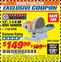 "Harbor Freight ITC Coupon 12"" DIRECT DRIVE BENCH TOP DISC SANDER Lot No. 43468 Expired: 6/30/18 - $149.99"