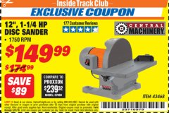 "Harbor Freight ITC Coupon 12"" DIRECT DRIVE BENCH TOP DISC SANDER Lot No. 43468 Expired: 3/31/19 - $149.99"