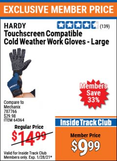 Harbor Freight ITC Coupon TOUCHSCREEN COMPATIBLE COLD WEATHER WORK GLOVES - LARGE Lot No. 64364 Valid: 1/1/21 - 1/28/21 - $9.99