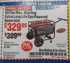 Harbor Freight Coupon PREDATOR 4375W EXTRA LONG LIFE GAS POWERED GENERATOR Lot No. 63963/63962/63960/63961 Expired: 1/20/21 - $329.99
