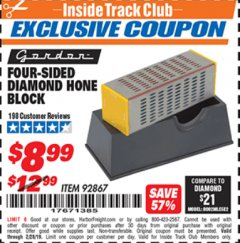 Harbor Freight ITC Coupon 4-SIDED DIAMOND HONE BLOCK Lot No. 92867 Dates Valid: 12/31/69 - 2/28/19 - $8.99