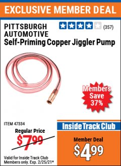 Harbor Freight ITC Coupon PITTSBURGH AUTOMOTIVE SELF-PRIMING COPPER JIGGLER PUMP Lot No. 47334 Expired: 2/25/21 - $4.99