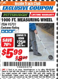 Harbor Freight ITC Coupon 1000 FT. MEASURING WHEEL Lot No. 95701 Expired: 5/31/18 - $5.99