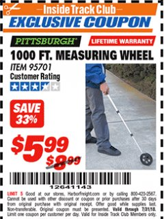 Harbor Freight ITC Coupon 1000 FT. MEASURING WHEEL Lot No. 95701 Expired: 7/31/18 - $5.99