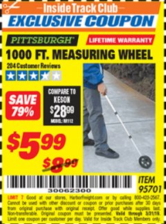 Harbor Freight ITC Coupon 1000 FT. MEASURING WHEEL Lot No. 95701 Valid Thru: 3/31/19 - $5.99