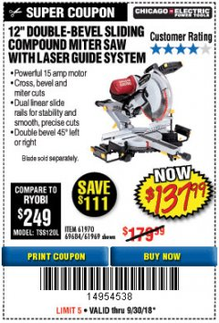 "Harbor Freight Coupon 12"" SLIDING COMPOUND DOUBLE-BEVEL MITER SAW WITH LASER GUIDE Lot No. 69684/61776/61969/61970 Expired: 9/30/18 - $137.99"