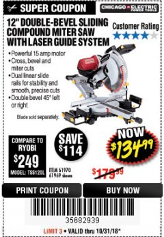 "Harbor Freight Coupon 12"" SLIDING COMPOUND DOUBLE-BEVEL MITER SAW WITH LASER GUIDE Lot No. 69684/61776/61969/61970 Expired: 10/31/18 - $134.99"