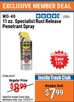 Harbor Freight ITC Coupon WD-40 11OZ. SPECIALIST RUST RELEASE PENETRANT SPRAY Lot No. 61475 Expired: 2/25/21 - $7.99