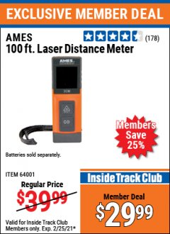 Harbor Freight ITC Coupon AMES 100 FT. LASER DISTANCE METER Lot No. 64001 Expired: 2/25/21 - $29.99