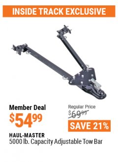 Harbor Freight ITC Coupon HAUL MASTER TOW BAR Lot No. 61625 Valid: 3/30/21 - 4/29/21 - $54.99