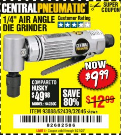 Harbor Freight Coupon AIR ANGLE DIE GRINDER Lot No. 32046/69945/62439 Valid Thru: 1/27/20 - $9.99
