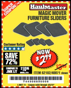 Harbor Freight Coupon MAGIC MOVER FURNITURE SLIDERS Lot No. 40071/62182 Expired: 4/5/19 - $2.99
