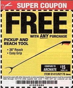 "Harbor Freight FREE Coupon 36"" PICKUP AND REACH TOOL Lot No. 94870/61413/62176 Expired: 10/17/18 - FWP"