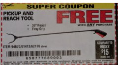 "Harbor Freight FREE Coupon 36"" PICKUP AND REACH TOOL Lot No. 94870/61413/62176 Expired: 12/22/18 - FWP"