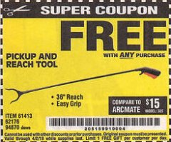 "Harbor Freight FREE Coupon 36"" PICKUP AND REACH TOOL Lot No. 94870/61413/62176 Expired: 4/2/19 - FWP"