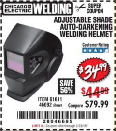 Harbor Freight Coupon ADJUSTABLE SHADE AUTO-DARKENING WELDING HELMET Lot No. 46092/61611 Valid Thru: 2/23/08 - $44.99