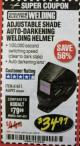 Harbor Freight Coupon ADJUSTABLE SHADE AUTO-DARKENING WELDING HELMET Lot No. 46092/61611 Expired: 2/28/18 - $34.99
