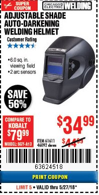 Harbor Freight Coupon ADJUSTABLE SHADE AUTO-DARKENING WELDING HELMET Lot No. 46092/61611 Expired: 5/27/18 - $34.99