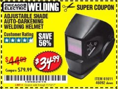 Harbor Freight Coupon ADJUSTABLE SHADE AUTO-DARKENING WELDING HELMET Lot No. 46092/61611 Expired: 11/12/17 - $34.99