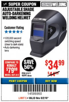 Harbor Freight Coupon ADJUSTABLE SHADE AUTO-DARKENING WELDING HELMET Lot No. 46092/61611 Expired: 9/2/18 - $34.99