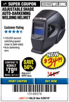 Harbor Freight Coupon ADJUSTABLE SHADE AUTO-DARKENING WELDING HELMET Lot No. 46092/61611 Expired: 9/30/18 - $34.99