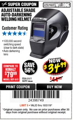 Harbor Freight Coupon ADJUSTABLE SHADE AUTO-DARKENING WELDING HELMET Lot No. 46092/61611 Expired: 10/21/18 - $34.99
