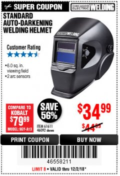 Harbor Freight Coupon ADJUSTABLE SHADE AUTO-DARKENING WELDING HELMET Lot No. 46092/61611 Expired: 12/2/18 - $34.99