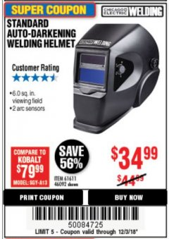 Harbor Freight Coupon ADJUSTABLE SHADE AUTO-DARKENING WELDING HELMET Lot No. 46092/61611 Expired: 12/3/18 - $34.99