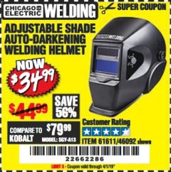 Harbor Freight Coupon ADJUSTABLE SHADE AUTO-DARKENING WELDING HELMET Lot No. 46092/61611 Valid Thru: 4/1/19 - $34.99