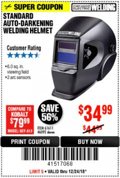 Harbor Freight Coupon ADJUSTABLE SHADE AUTO-DARKENING WELDING HELMET Lot No. 46092/61611 Expired: 12/24/18 - $34.99