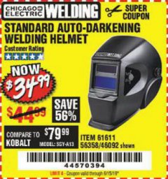 Harbor Freight Coupon ADJUSTABLE SHADE AUTO-DARKENING WELDING HELMET Lot No. 46092/61611 Valid Thru: 6/15/19 - $34.99