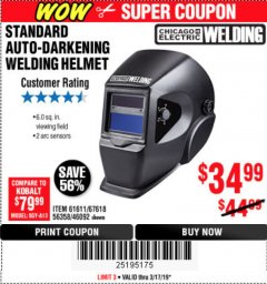Harbor Freight Coupon ADJUSTABLE SHADE AUTO-DARKENING WELDING HELMET Lot No. 46092/61611 Expired: 3/17/19 - $34.99