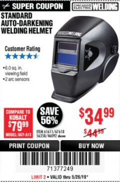 Harbor Freight Coupon ADJUSTABLE SHADE AUTO-DARKENING WELDING HELMET Lot No. 46092/61611 Valid Thru: 5/26/19 - $34.99